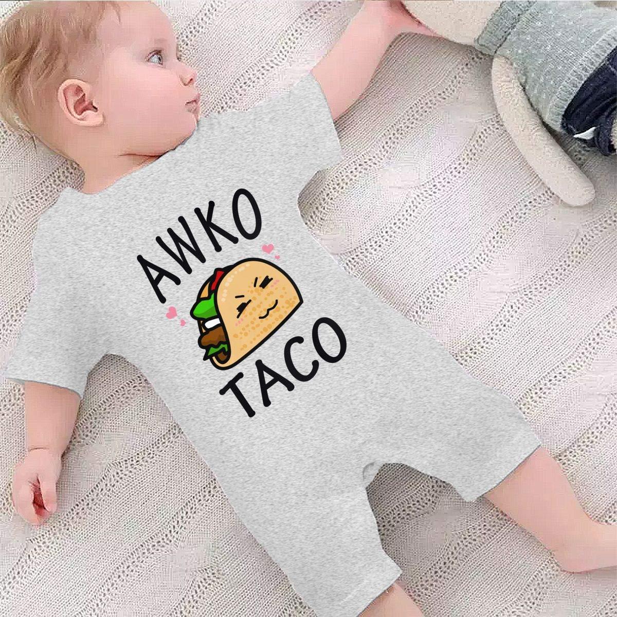 YINGFG Baby Boys Girls Short Sleeve Jumpsuit Awko Taco Cotton Romper