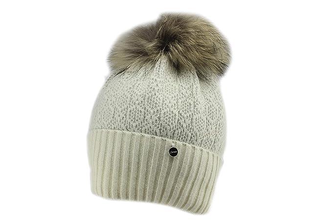 Amazon.com  Jamiks Tiona Warm Winter Natural Fur Pom Pom Beanie Hat   Clothing 47d1dc6811e1