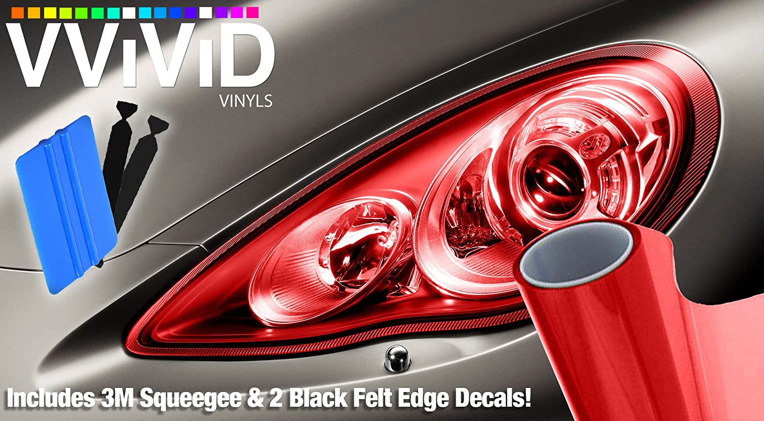 VViViD Extra-Wide Headlight Taillight Vinyl Wet Tint Wrap 16' x 48' Roll Including 3M Blue Squeegee & 2x Black Felt Edge Decals (Green)