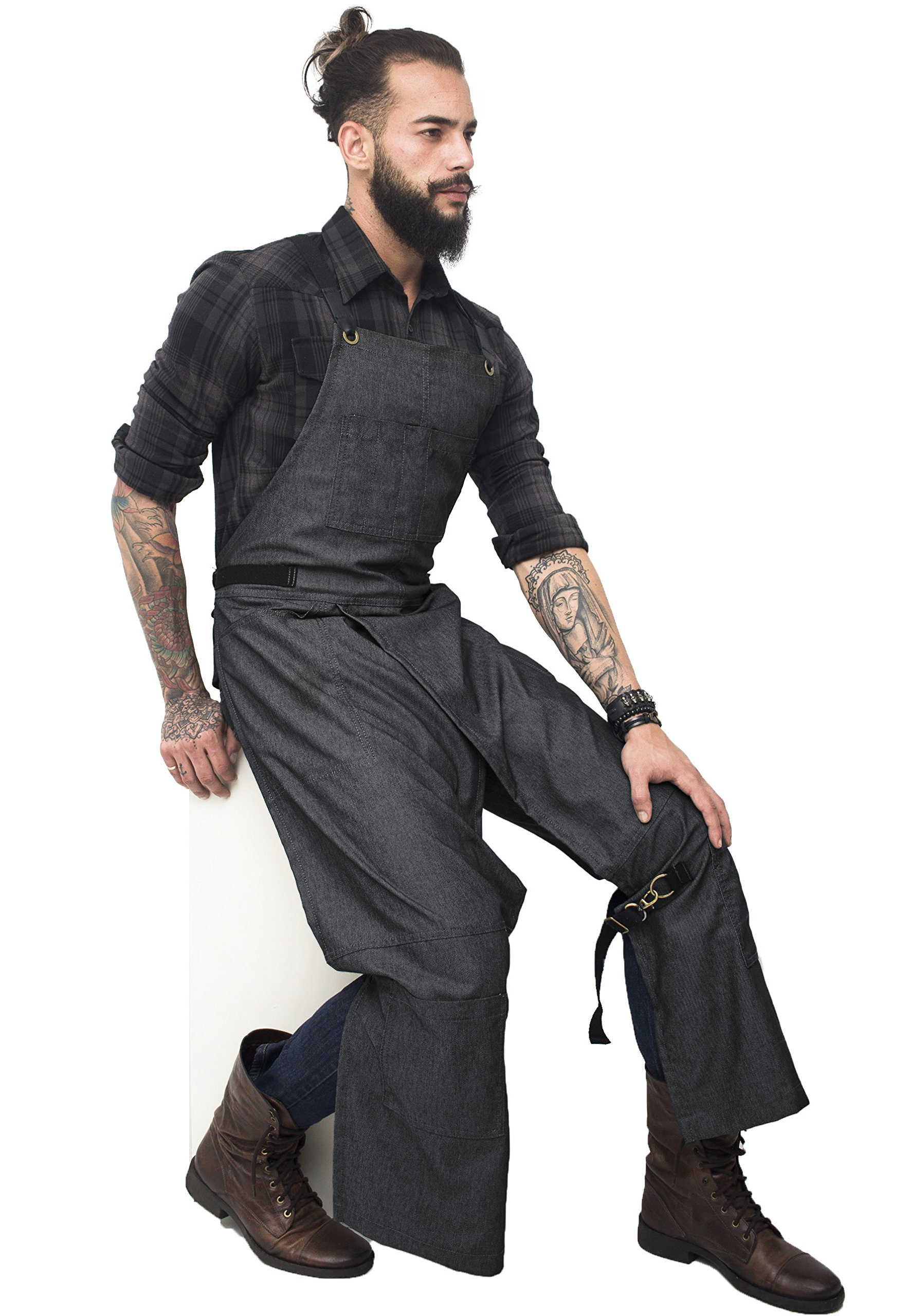 Under NY Sky Pottery Original Gray Apron - Full Cover Cross-Back, Durable Denim, Leather Reinforcement and Overlapping Split-Leg - Adjustable for Men and Women - Pro Pottery Artist, Mechanic by Under NY Sky