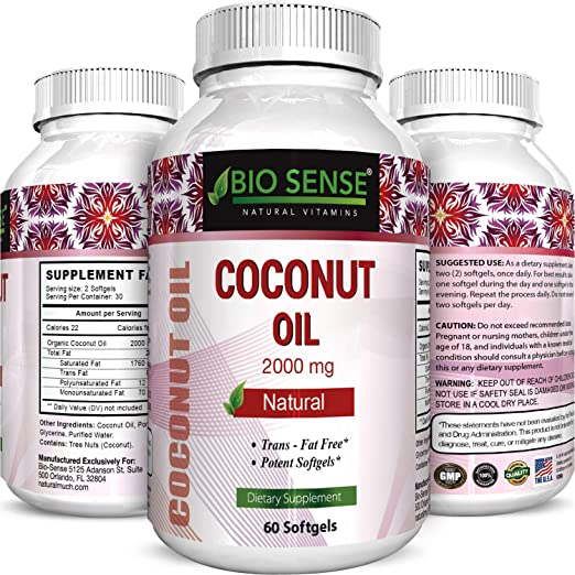 Phytoral Extra Virgin Coconut Oil 2000 mg Softgels for Skin Care and Health 60 Softgels