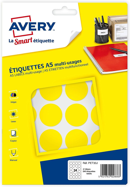 Diam/ètre 30 mm Etui de240 pastilles rouges autocollantes AVERY