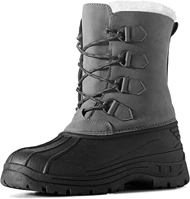 Men/'s Winter Boots with Fully Fur Lined Artificial Suede Wear Resistant Antislip Warm Adults Ankle Boots Rubber Sole for Casual Outdoor Walking Hiking Travelling