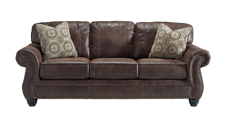 Sensational Benchcraft Breville Traditional Faux Leather Sofa Espresso Home Interior And Landscaping Mentranervesignezvosmurscom