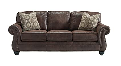 Benchcraft   Breville Traditional Faux Leather Sofa   Espresso