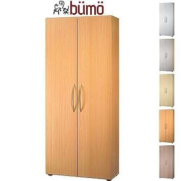 Büroschrank holz  BÜMÖ® Aktenschrank aus Holz | Büroschrank für Aktenordner |  Flügeltürenschrank für Ordner | inkl. 4 Einlegeböden | in 8 Farben  verfügbar ...