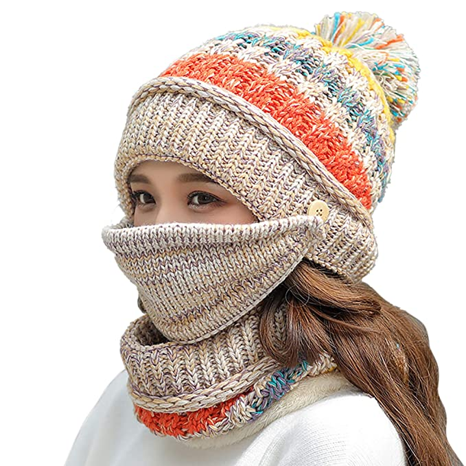 8775acd7182 FANZERO Womens Girls Knit Beanie Scarf Mask Set Soft Warm Fleece Lined Winter  Ski Hat with