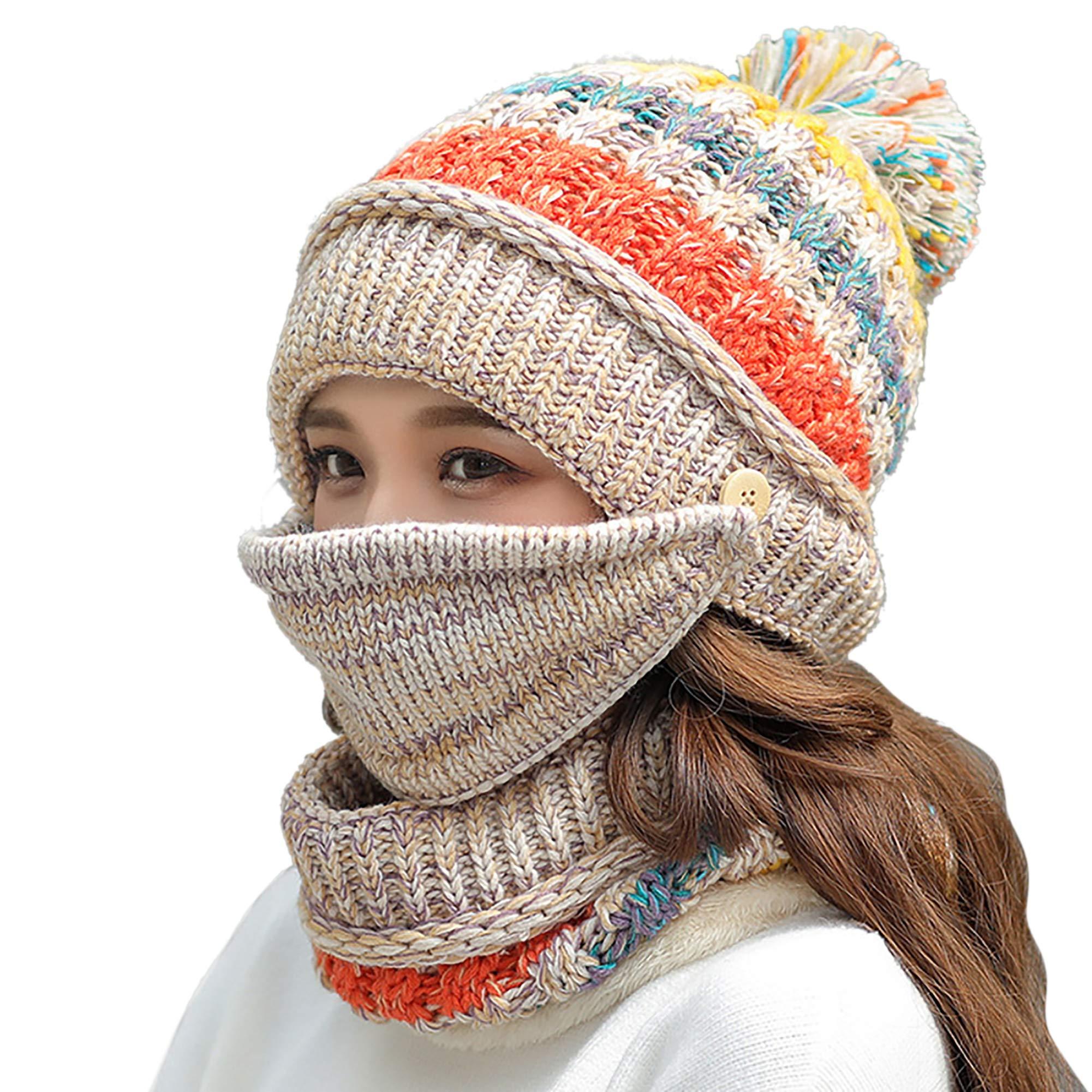 e4259e3afdf FANZERO Womens Girls Knit Beanie Scarf Mask Set Soft Warm Fleece ...