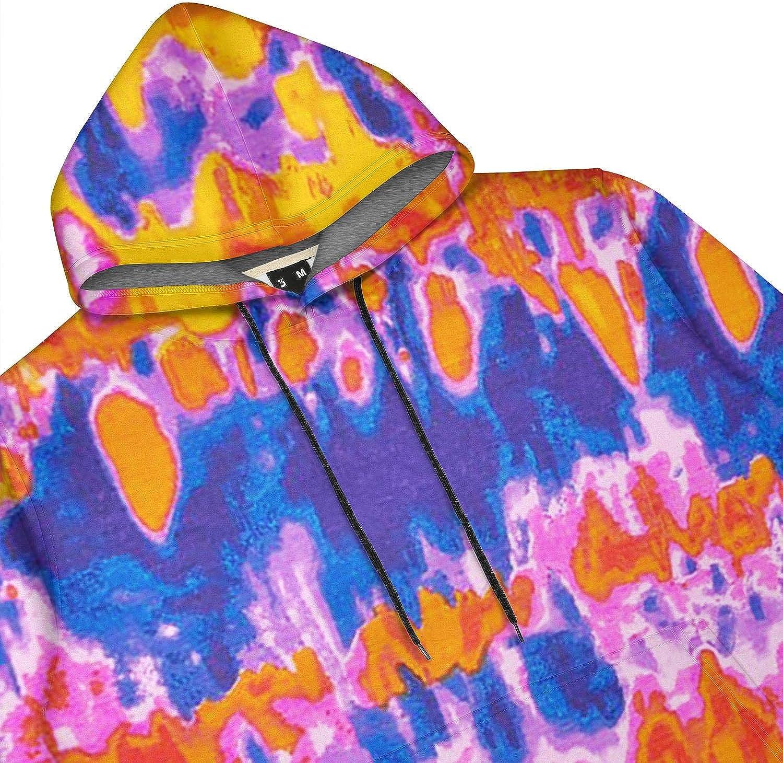 Mens Hoodie Sweatshirt Trippy Tie Dye Art Cool Sweatshirt with Pocket