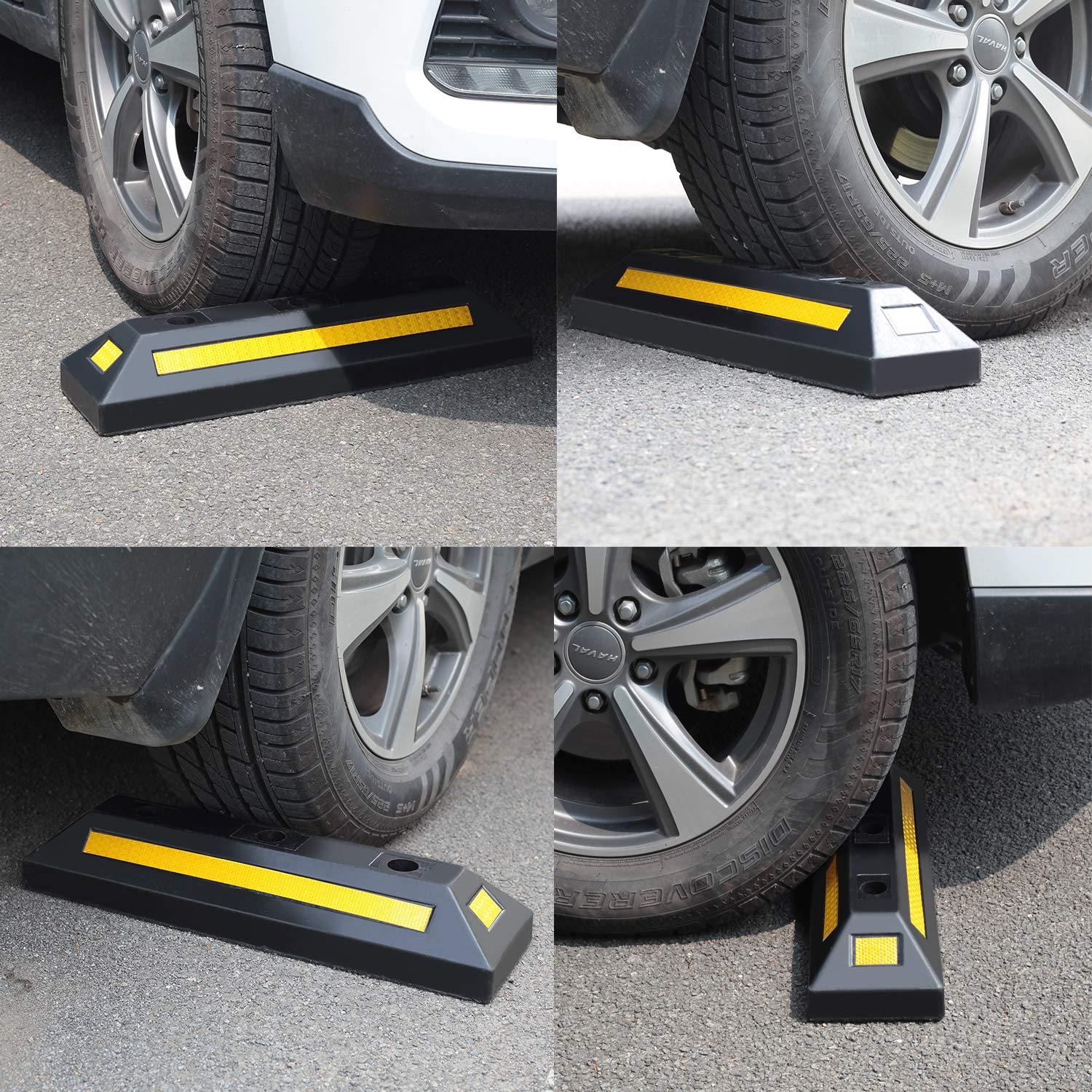 2 Pack Heavy Duty Rubber Parking Blocks Wheel Stop for Car Garage Parks Wheel Stop Stoppers Professional Grade Parking Rubber Block Curb w/Yellow Refective Stripes for Truck RV, Trailer 21.25''(L) by Reliancer (Image #7)
