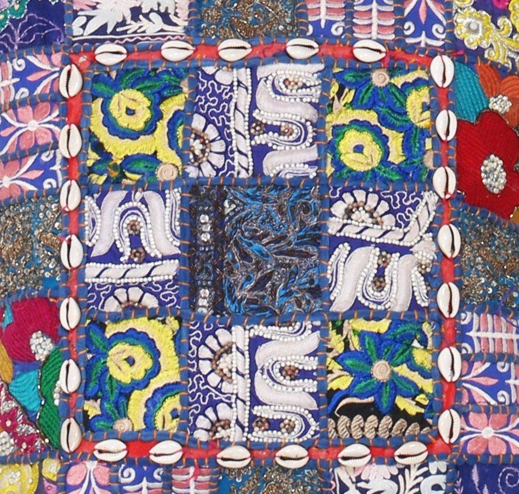 早割クーポン Indain 毎日がバーゲンセール 2 Piece 16インチブルー色khambadiya従来ビンテージハンドメイドクッションカバー 16 B01GHEBO70