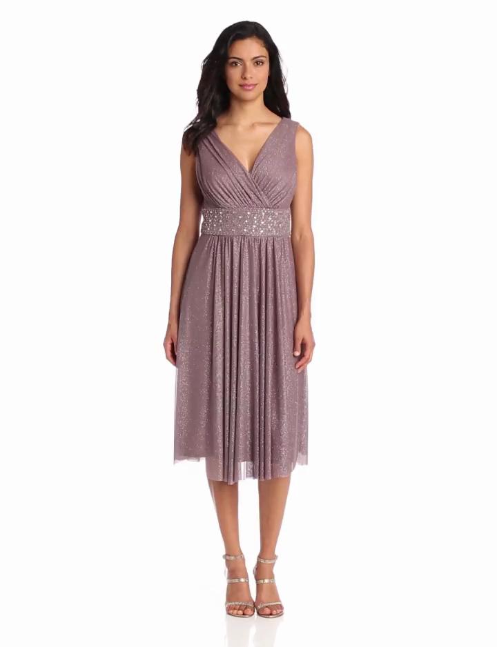 Jessica Howard Womens Surplice Bodice Dress With Beaded Waist