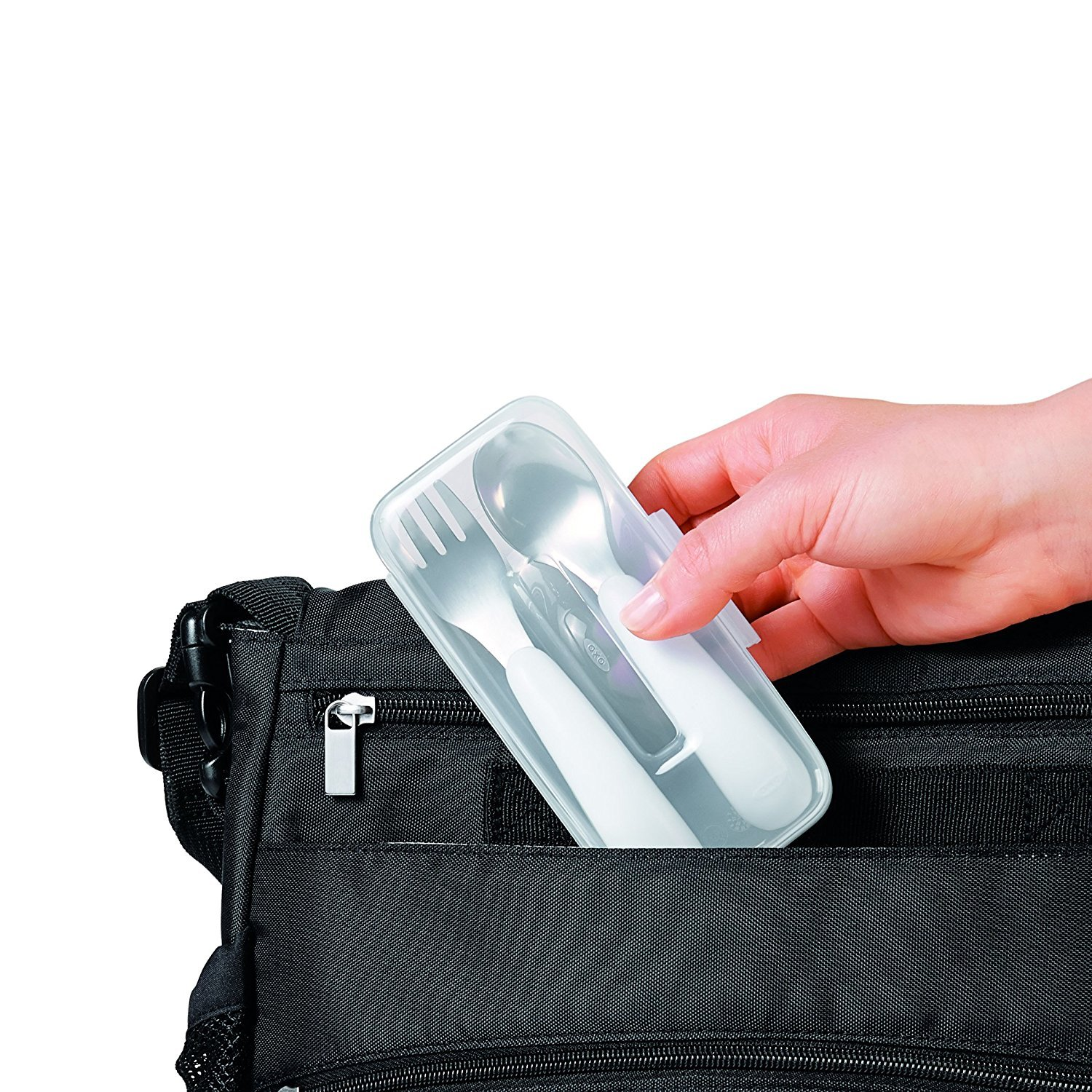 OXO Tot On-The-Go Fork// Spoon Set With Carrying Case White//Navy