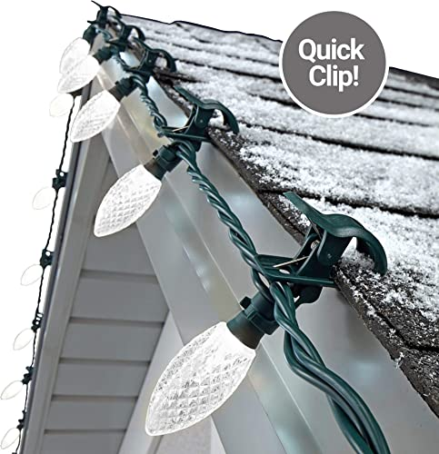 NOMA C9 LED Quick Clip Christmas Lights Simple Built-in Clip-On Outdoor String Lights Clear Pure White Bulbs UL Certified 25 Light Set 16.8 Foot Strand