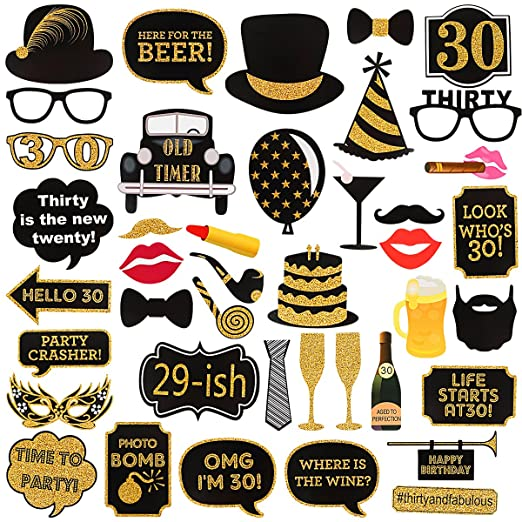 Kit de 40 piezas de accesorios para 30 cumpleaños, para ...
