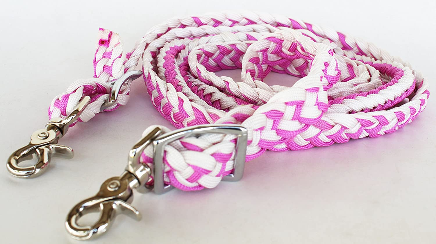 Roping Knotted Horse Tack Western Barrel Reins Nylon Braided Pink 60702   B00NETLUVC