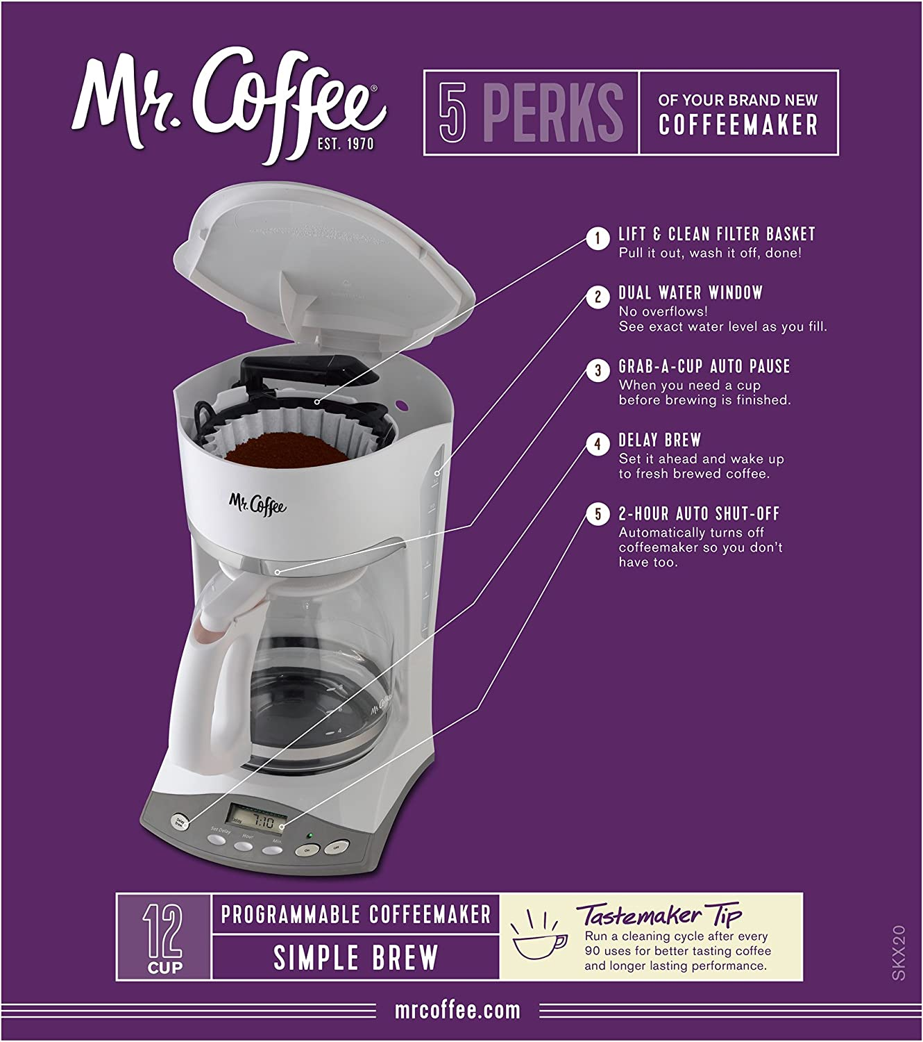 White Mr Coffee 12 Cup Programmable Coffee Maker Home Coffee ...