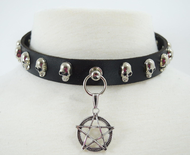 Punk Rock Vintage Gothic Skull Pentagram Charm Cuff Bracelet,Brown Golden SumBonum Jewelry Mens Womens Alloy Leather Bracelet