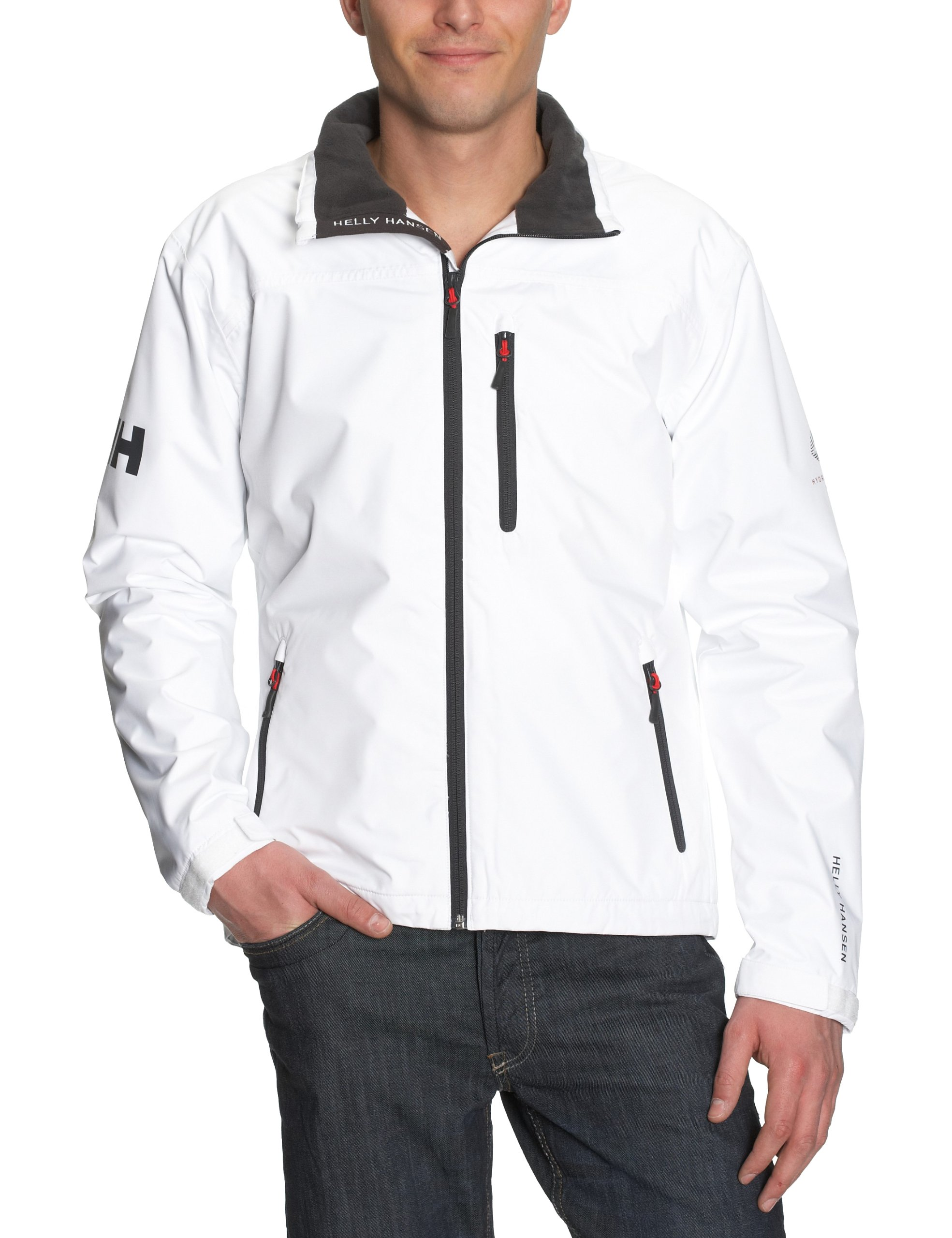Helly Hansen Men's Crew Midlayer Waterproof Windproof Breathable Sailing Rain Coat Jacket, 001 Bright White, 2X-Large