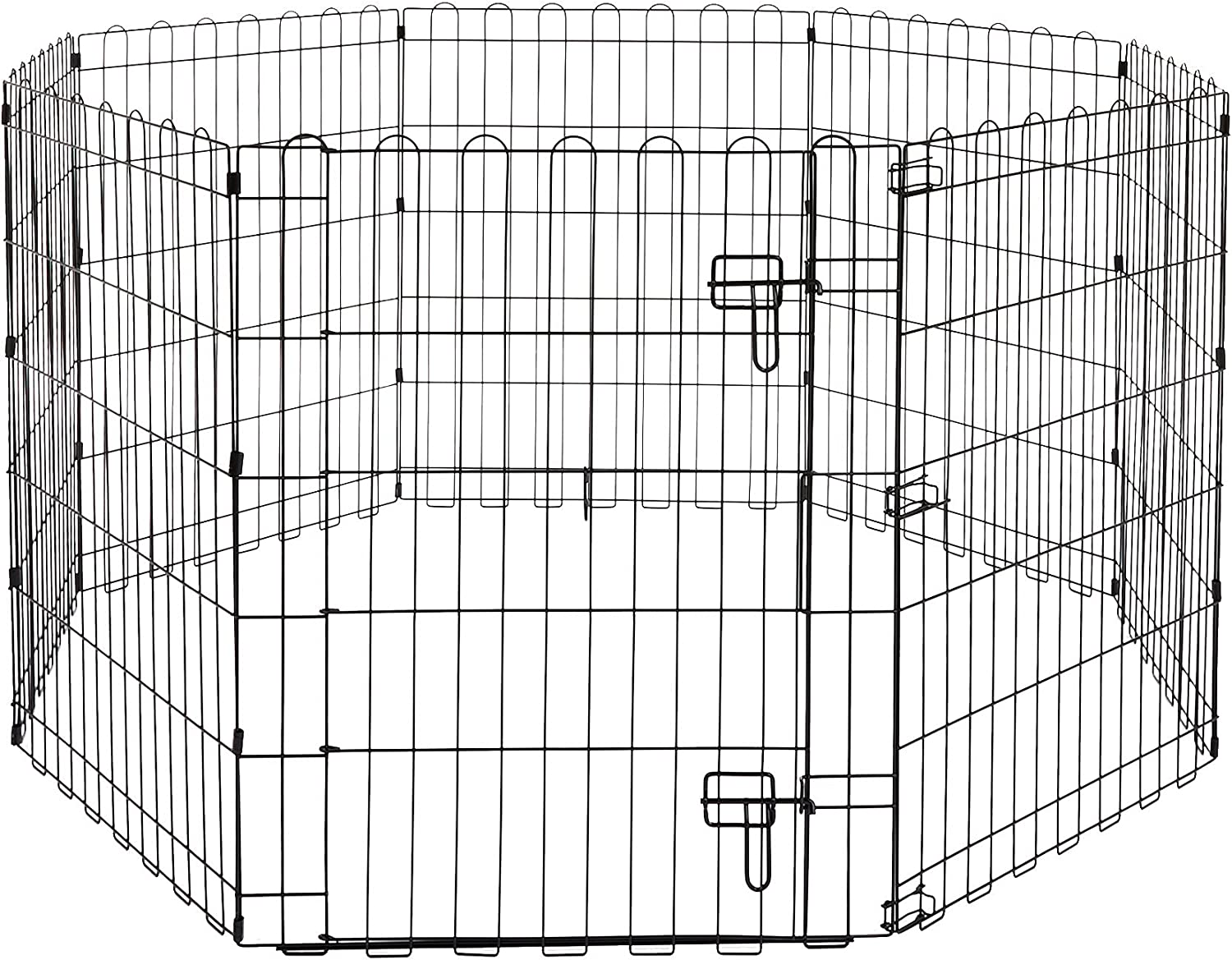 Basics Foldable Metal Pet Dog Exercise Fence Pen With Gate - 60 x 60 x 30 Inches : Pet Supplies