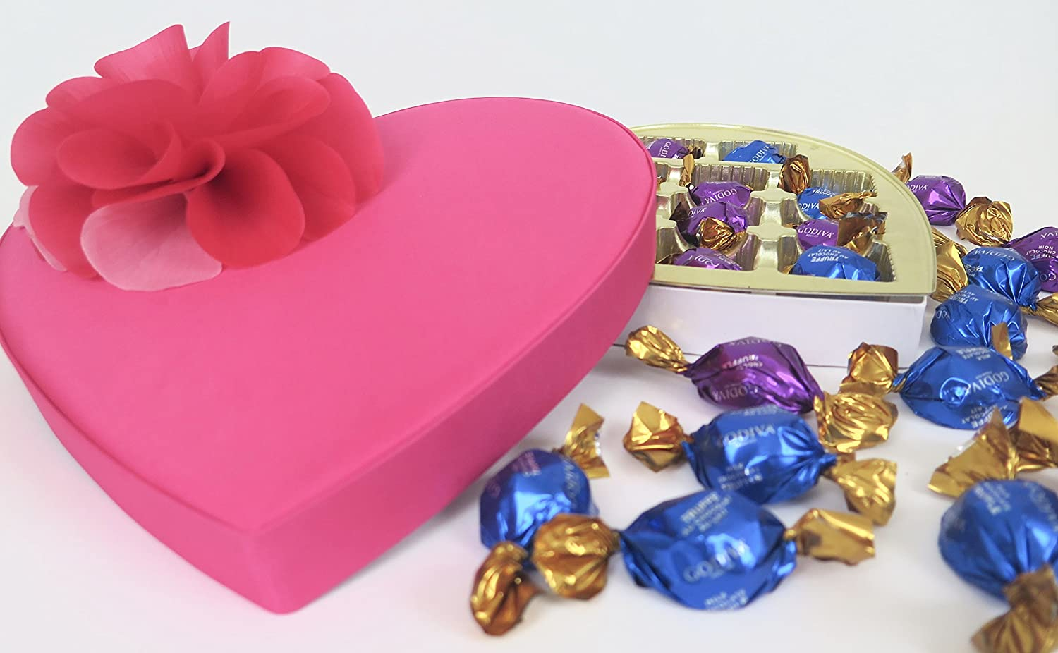 Amazon.com : Godiva Chocolate truffles in a pink flower heart gift ...
