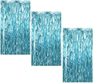 3Pcs 3.2ft x 8.2ft Light Blue Metallic Tinsel Foil Fringe Curtains for Halloween Party Bachelorette Birthday Wedding Baby Sho