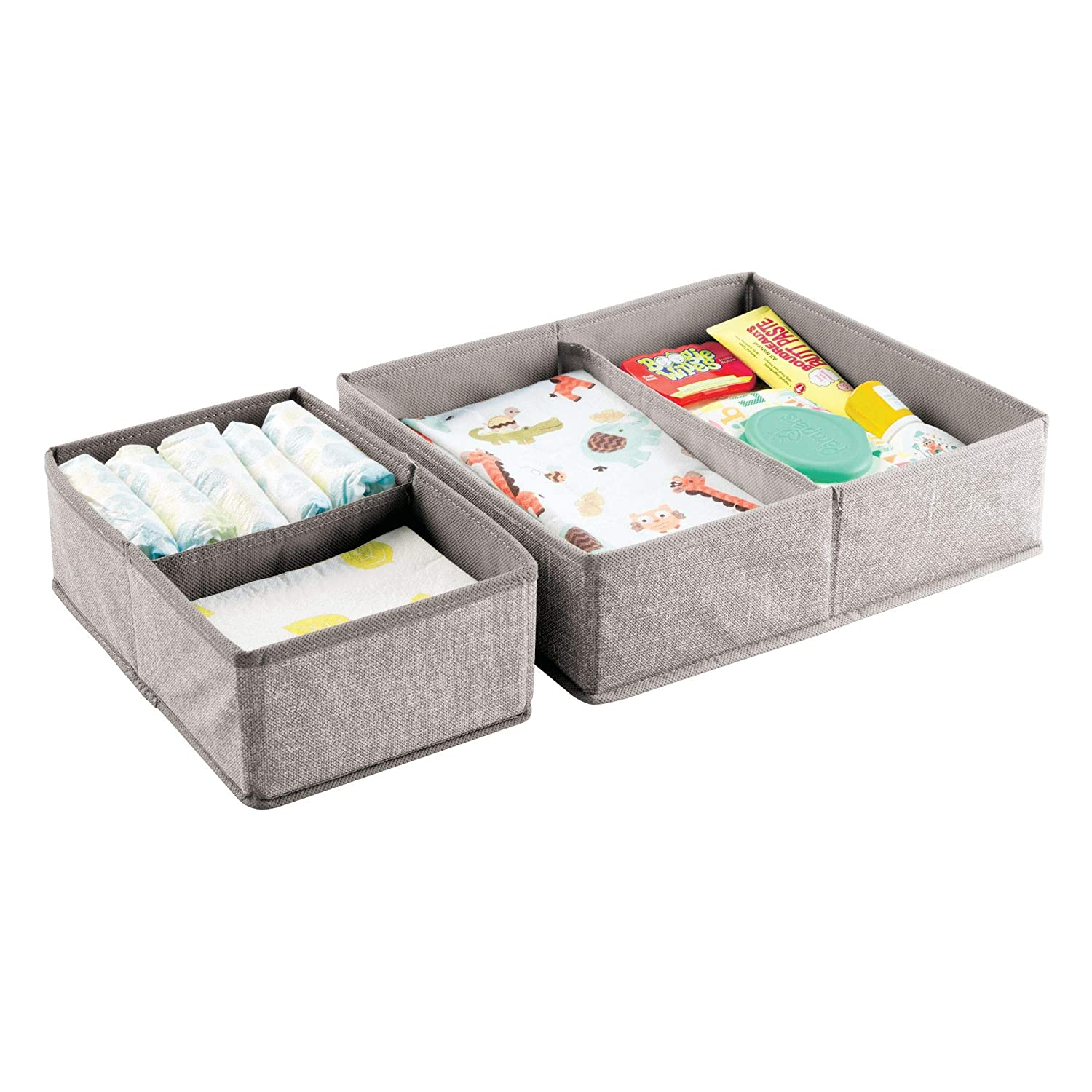 mDesign Fabric Baby Nursery Storage Organizers for Clothing, Towels, Diapers, Lotion, Wipes - Set of 4, 4 Total Compartments, Linen MetroDecor 7911MDB