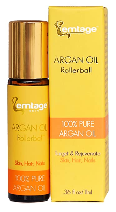 Argan Oil Rollerball - Target & Rejuvenate Hair, Face, Skin, Nails, Beard .33 fl oz. 100% Organic Virgin Moroccan Argan Oil in a Roll-on. Anti-Aging Beauty Secret