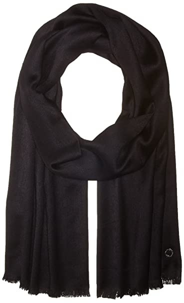 e8f72b2f7b1d2 Calvin Klein Women's Solid Satin Feel Pashmina, black, One Size at ...