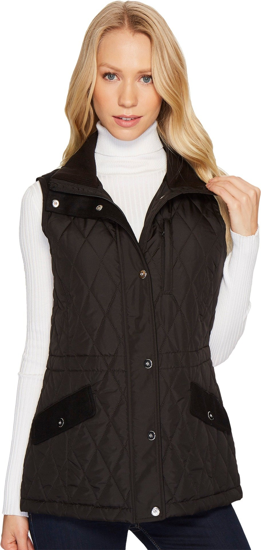 Lauren by Ralph Lauren Womens Vest w/Wool Combo Black LG One Size