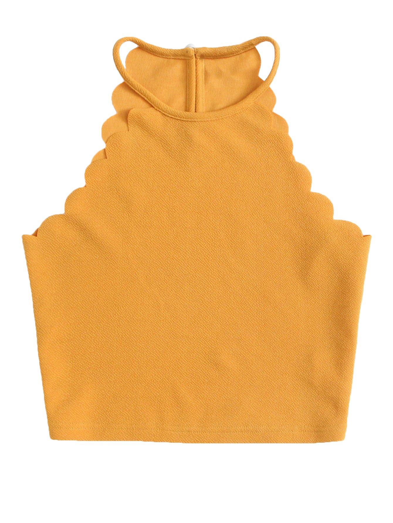 MakeMeChic Women's Solid Halter Neck Cami Scallop Trim Workout Crop Top Yellow S
