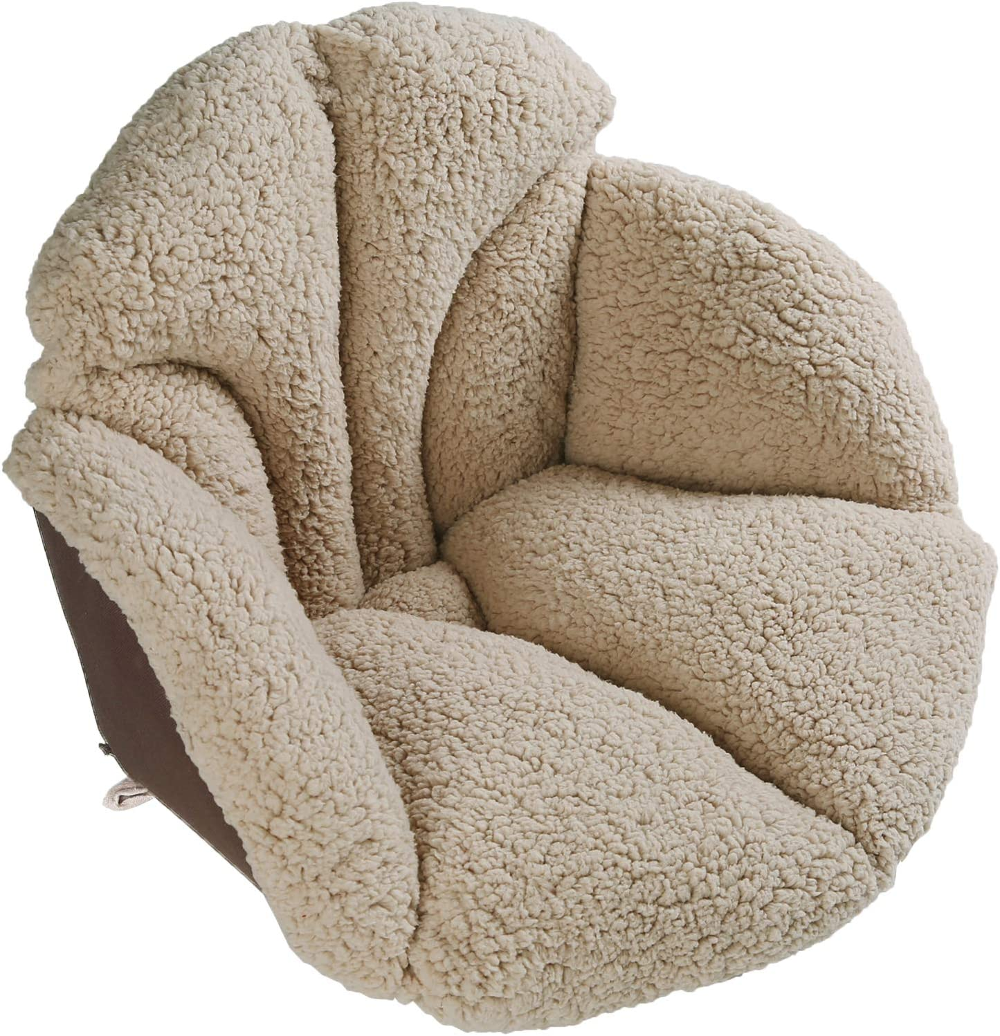 Amazon Com Hughapy Chair Cushions Desk Seat Cushion Warm Comfort Sherpa Wool Seat Cushion Pad For Support Waist Backrest Winter Plush Cushion For Home Office Chair Car Seat 19wx16lx15h Khaki Kitchen Dining