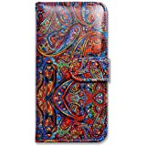 iPhone 6s Plus Case, Bfun Packing Bcov Bright Paisley Pattern Wallet Leather Cover Case For iPhone 6 Plus/6S Plus