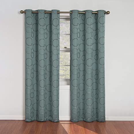 Amazon Com Eclipse Meridian Thermal Insulated Single Panel Grommet Top Darkening Curtains For Living Room 42 X 84 River Blue Home Kitchen
