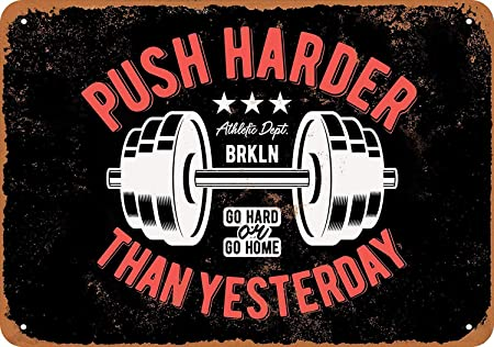 Push Harder Than Yesterday Weight Lifting Retro Cartel de ...