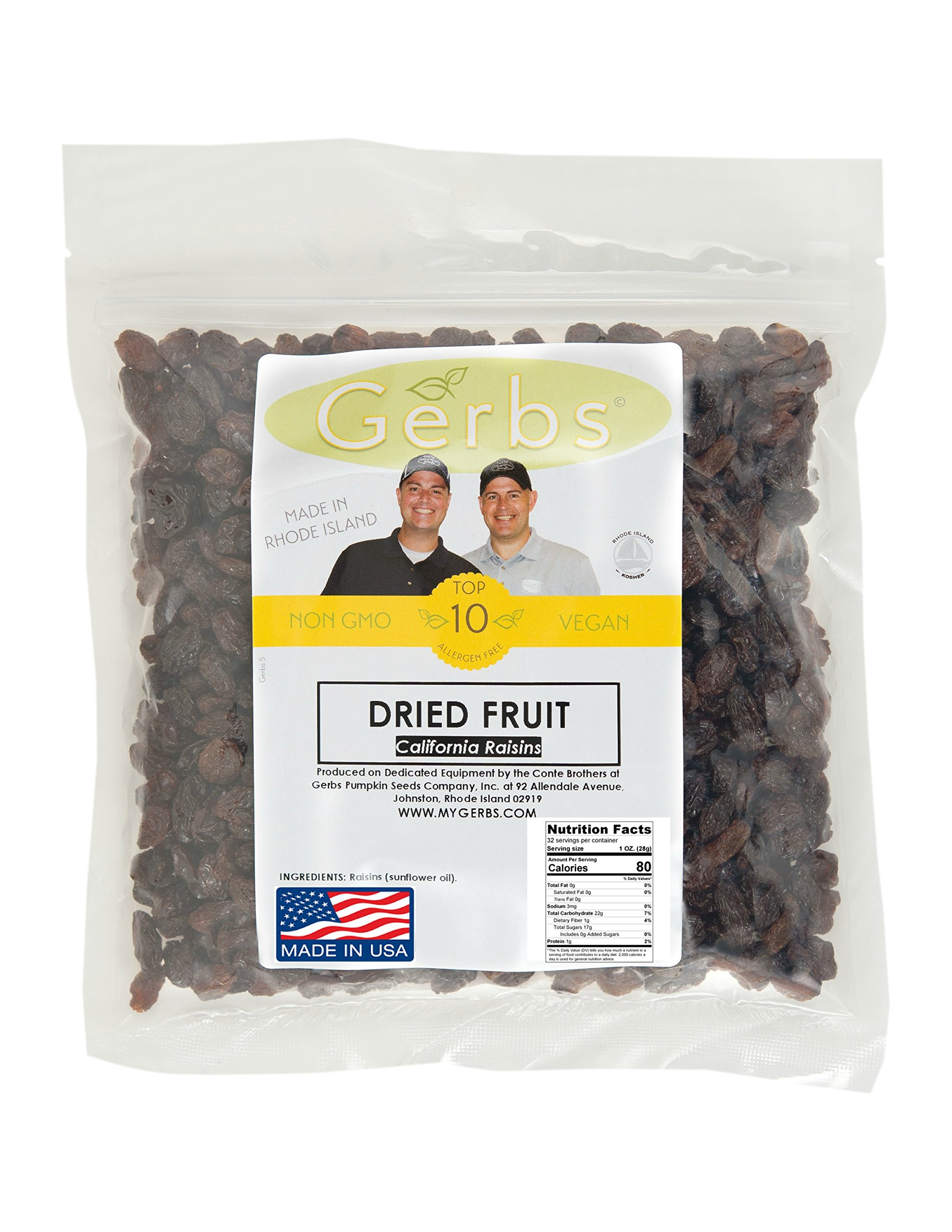California Raisins, 2 LBS - Preservative Free & Unsulfured by Gerbs - Traditional Size - Top 12 Food Allergy Free & NON GMO – Premium Product of USA