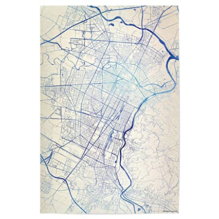 Artboxone Poster Cities Turin Italy Blue Infusion Map I 120x80 Cm