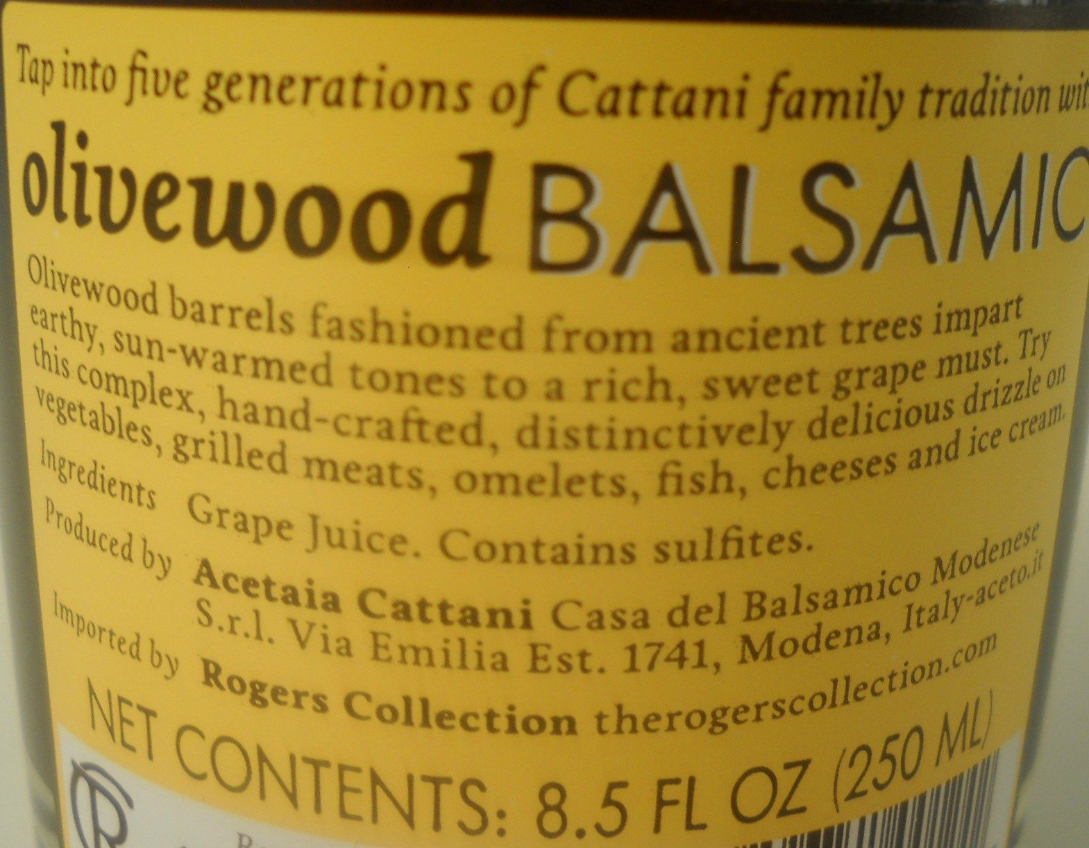 Cattani Olivewood Balsamic Vinegar