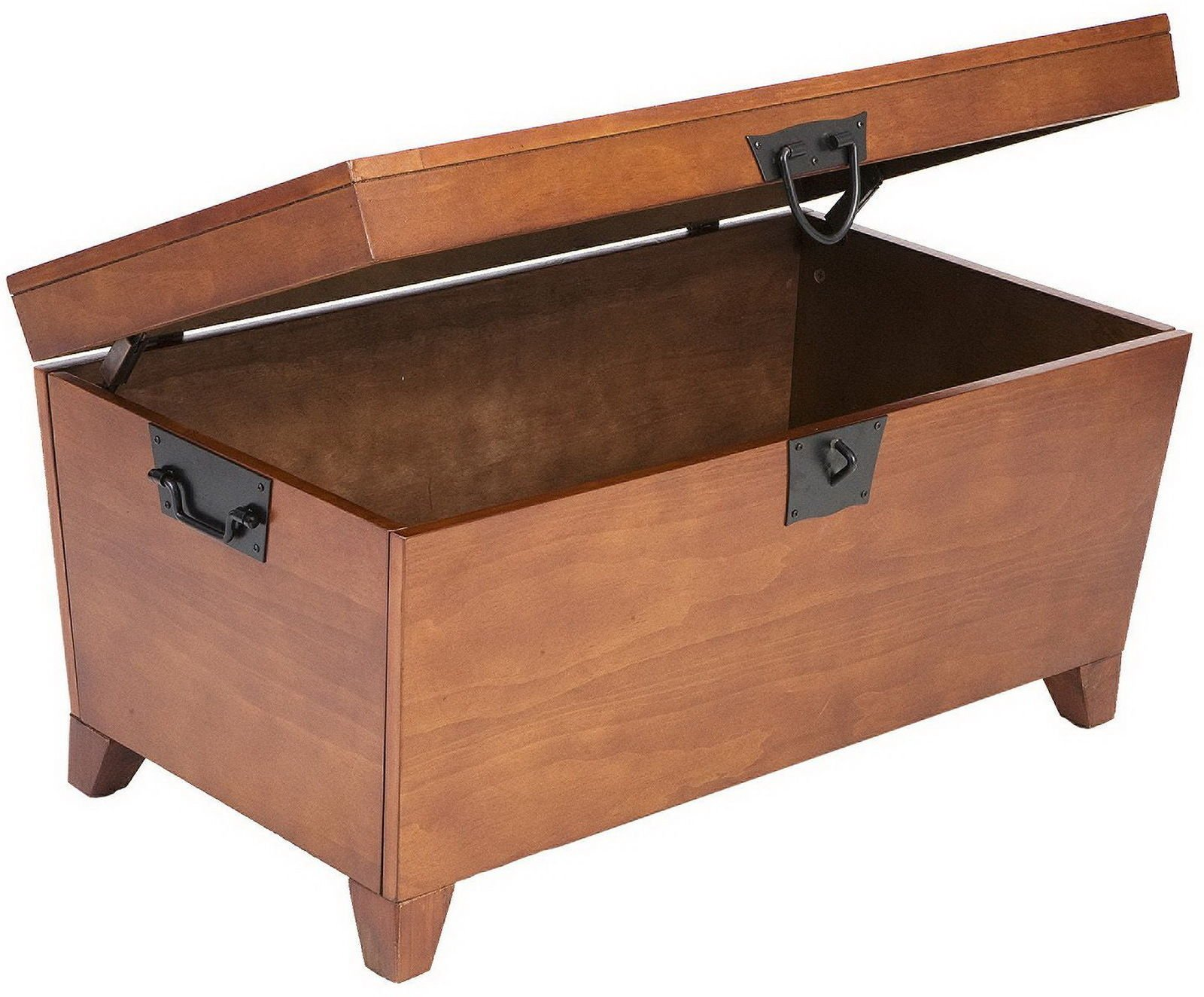 Stylish Wood Coffee Table with Hinged Lid Wooden Storage Trunk Chest Box