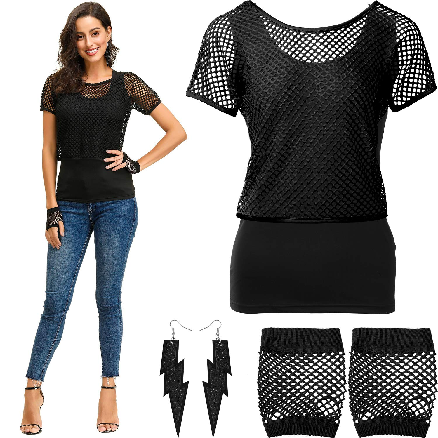 Fishnet Neon Off Shoulder T-Shirt Tank Gloves Earrings for 80 s Party 80s Costume Accessories Set
