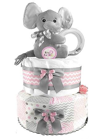 4e94ba917 Amazon.com   Elephant Diaper Cake - Baby Shower Gift - Centerpiece ...