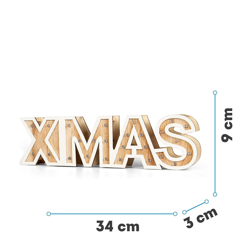 SnowEra LED Dekoleuchte XMAS Holzschrift Weihnachtsdeko aus Holz FSC 100/% Holzdeko Weihnachten Weihnachtebeleuchtung f/ür innen