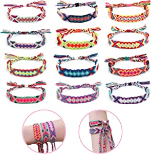 Elesa Miracle 12pc Women Girl Woven Friendship Bracelet Value Set Kids Party Favor Adjustable Bracelet