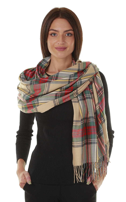 Beige GILBIN'S Big Winter Warm Tartan Checked Cashmere Feel Shawl Blanket Scarf 80  x 30