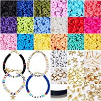 Clay Beads 6mm Heishi Beads, Flat Round Polymer Clay Beads DIY Jewelry Marking Kit for Bracelets Necklace Earring…