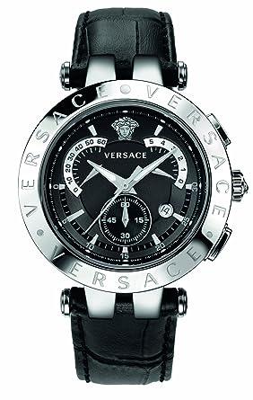 c7bb67cbaa74 Versace - 23C99D008S009 - Montre Homme - Quartz Chronographe - Bracelet  Cuir Noir