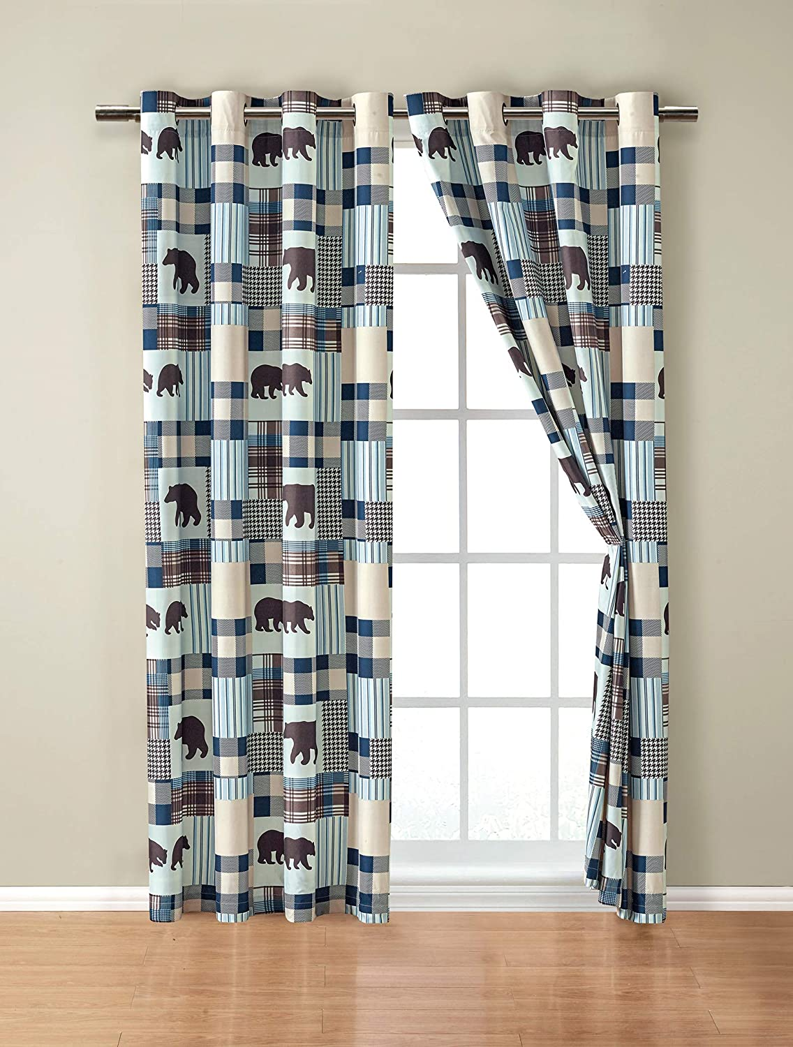 Rustic Modern Farmhouse Cabin Lodge Window Treatment Grommet Curtain Set with Patchwork of Grizzly Bears and Buffalo Plaid Check Patterns Beige Blue - Curtain Set (Western 2)