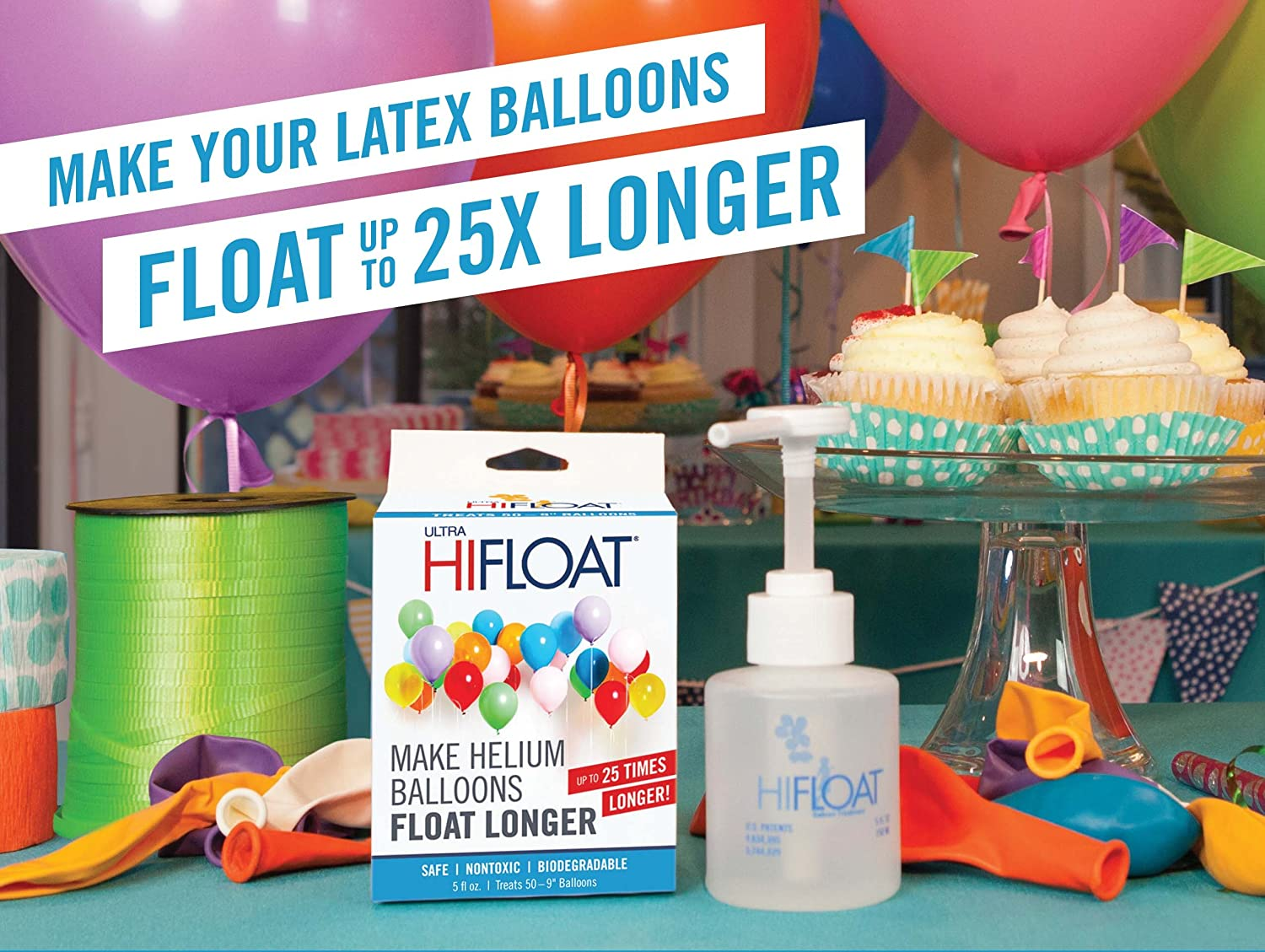 Balloon Time Disposable Helium Kit ,Tank 14.9 cu.ft - Plus an Ultra Hi-Float - Party Balloons will Float for Several Days - 50 Balloons and Ribbon Included by Blue Ribbon