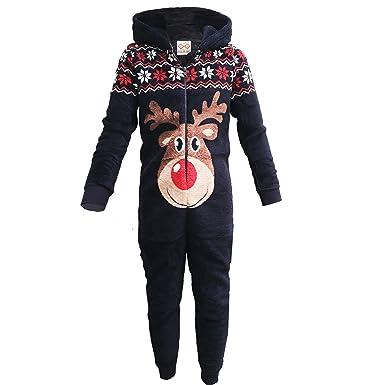 1b0b51117aaa Unisex Girls Boys All In One Christmas Polar Fleece Onesie Reindeer ...