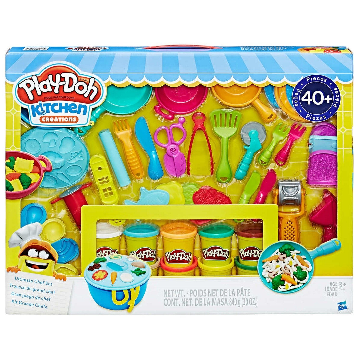Play-Doh Kitchen Creations Ultimate Chef Set - Create and Make Meals with Play-Doh Kitchen Tools - 40+ Pieces & 10 Cans of Play-Doh by Play-Doh